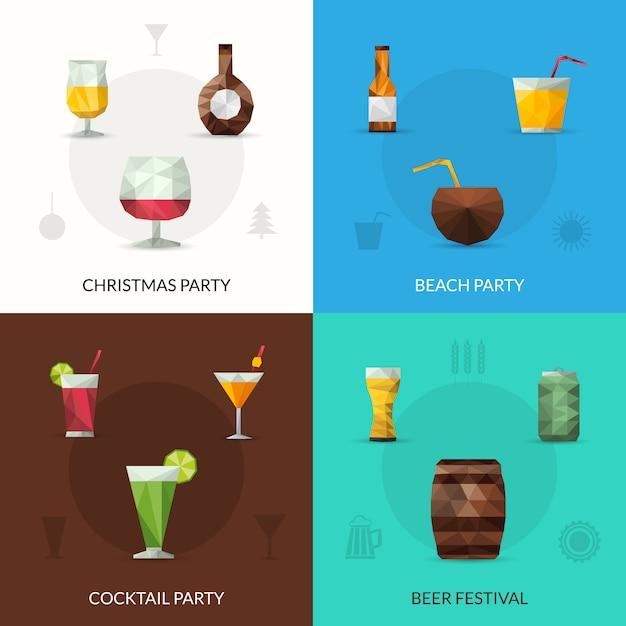 Conjunto poligonal de bebidas Vetor grátis