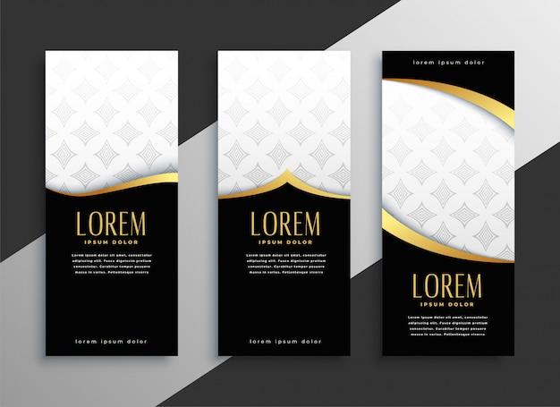 Conjunto premium de banners verticais dourados Vetor grátis