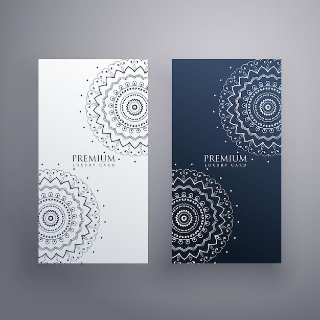 Conjunto premium de designs de cartão de mandala Vetor grátis