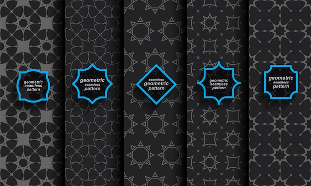 Conjunto preto padrão islâmico sem emenda Vetor Premium