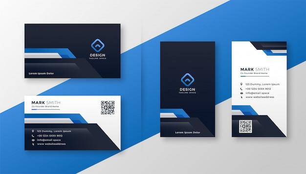 Conjunto profissional de cartão geométrico azul Vetor grátis