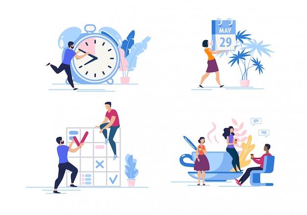 Conjunto publicidade cartaz gerenciamento de tempo dos desenhos animados. Vetor Premium