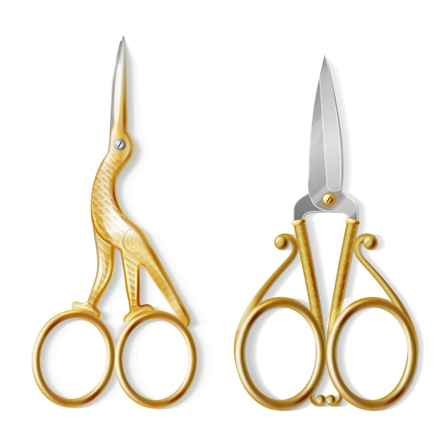 Conjunto realista com dois pares de tesouras de unha, equipamento profissional para manicure e pedicure Vetor grátis