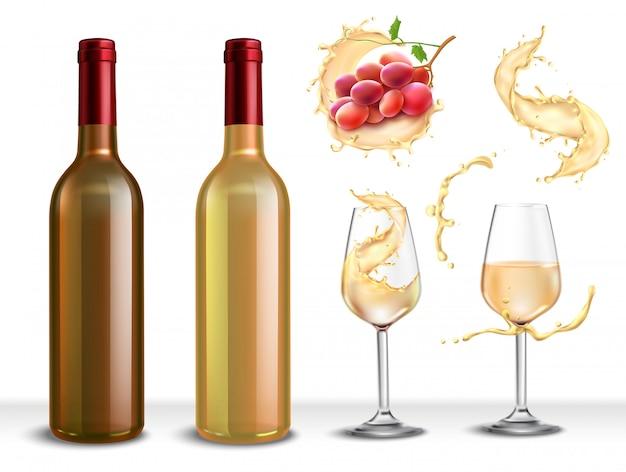 Conjunto realista com garrafa de vinho branco, dois copos cheios de bebida e uvas Vetor grátis