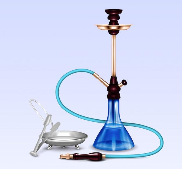Conjunto realista de acessórios para fumar cachimbo de água Vetor grátis