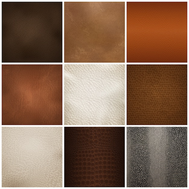 Conjunto realista de amostras de textura de couro Vetor grátis