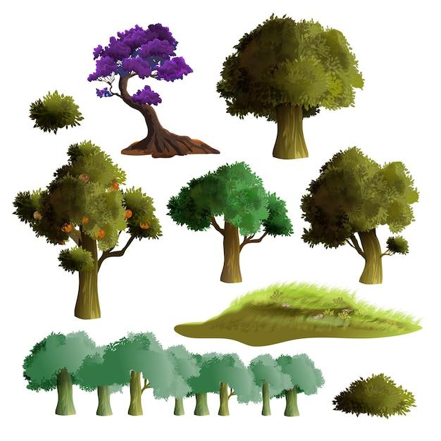 Conjunto realista de belas árvores e arbustos. coleção de árvores de verão. grama verde, folhagem enorme e macieira. isolado no fundo branco. Vetor Premium
