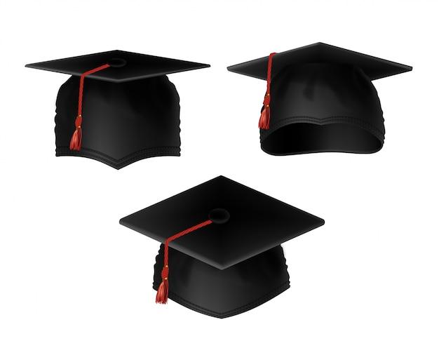 Conjunto realista de bonés de formatura preto com borlas vermelhas, vista de vários lados Vetor grátis