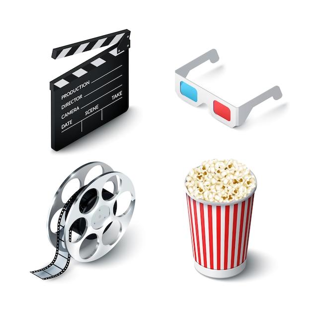 Conjunto realista de cinema Vetor grátis