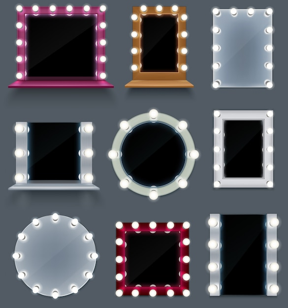 Conjunto realista de colorido compõem espelhos de forma diferente com lâmpadas isoladas Vetor grátis
