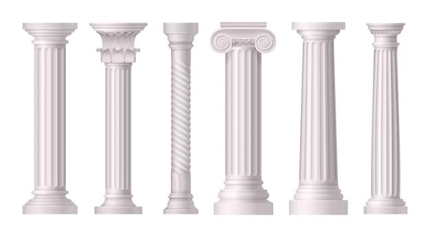Conjunto realista de colunas brancas antigas com diferentes estilos de arquitetura grega Vetor grátis