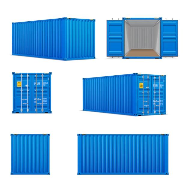 Conjunto realista de contêineres azuis brilhantes Vetor Premium
