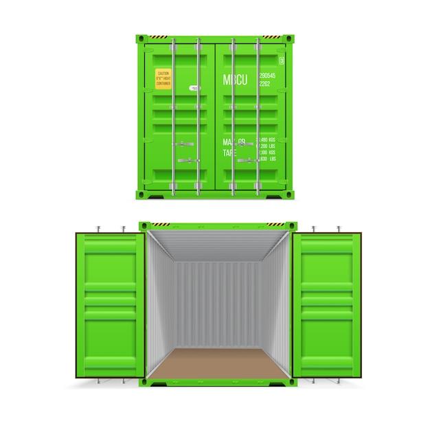 Conjunto realista de contentores de carga verde brilhante. aberto e fechado. entrega, transporte, envio de transporte de mercadorias. Vetor Premium