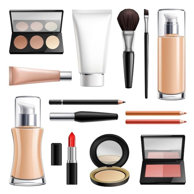 Conjunto realista de cosméticos maquiagem Vetor grátis