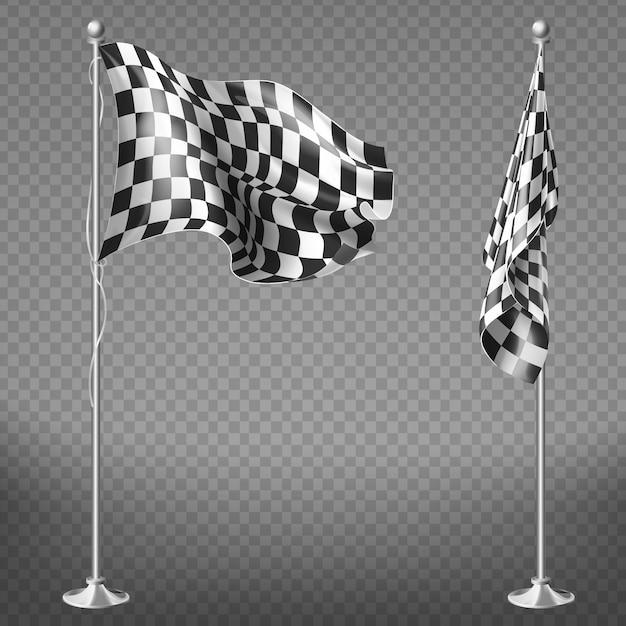 Conjunto realista de duas bandeiras de corrida em varas de aço isolado em fundo transparente. Vetor grátis