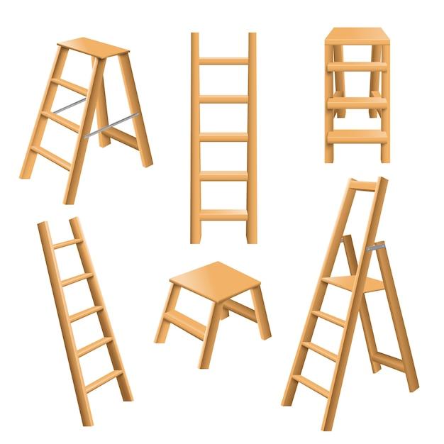 Conjunto realista de escadas de madeira Vetor grátis