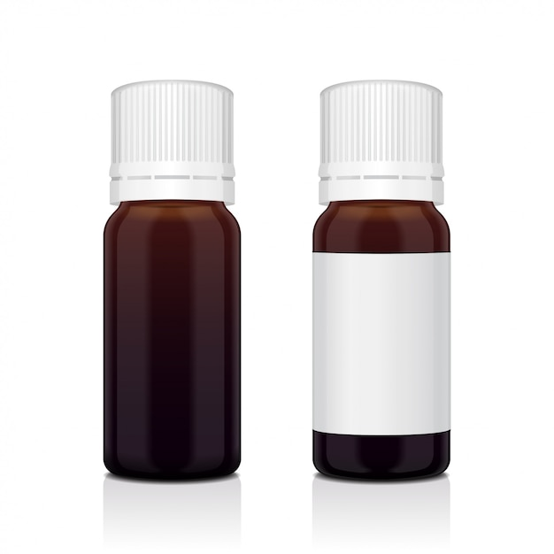 Conjunto realista de garrafa de óleo essencial marrom. frasco cosmético ou frasco médico, balão, ilustração de flacon Vetor Premium
