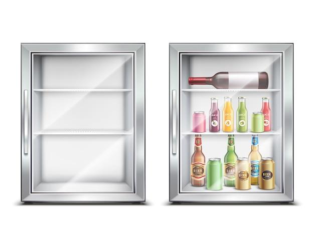 Conjunto realista de geladeira geladeira com dois mini-bar refrigerado pequeno isolado com porta brilhante Vetor grátis