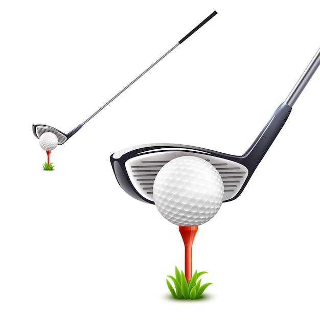 Conjunto realista de golfe Vetor grátis