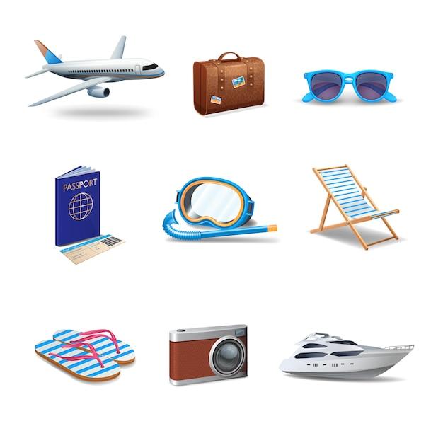 Conjunto realista de ícones de viagens Vetor grátis