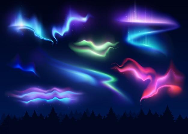 Conjunto realista de luzes do norte Vetor grátis