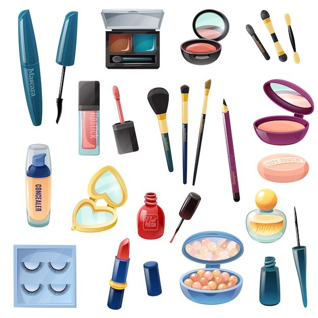 Conjunto realista de maquilhagem cosmética feminina Vetor grátis