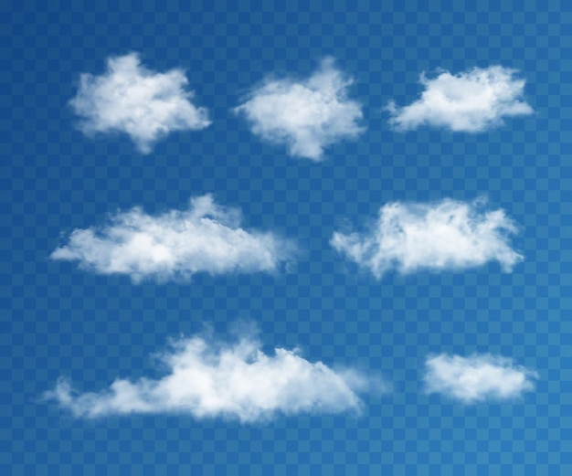 Conjunto realista de nuvens Vetor Premium