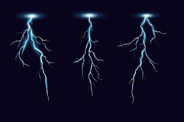 Conjunto realista de parafusos de relâmpago. descarga elétrica de tempestade isolada Vetor Premium