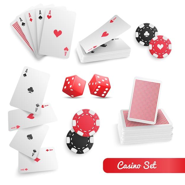 Conjunto realista de pôquer de cassino Vetor grátis