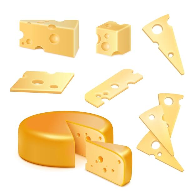 Conjunto realista de queijo Vetor grátis