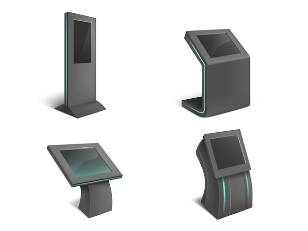 Conjunto realista de quiosques de informações interativas, preto fica com tela de toque em branco Vetor grátis