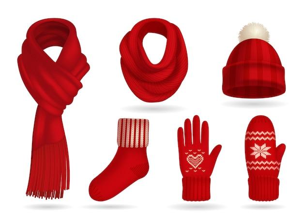 Conjunto realista de roupas de malha vermelha de inverno com luvas e cachecol isolado Vetor grátis