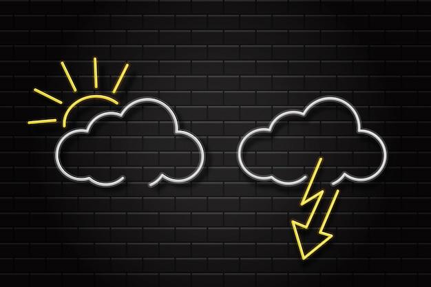 Conjunto realista de sinais retrô neon para ícones de clima no fundo da parede para decoração e cobertura. conceito de meio ambiente e clima. Vetor Premium