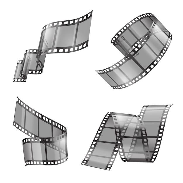 Conjunto realista de tira de filme, filme ou fita de foto, fragmentos curvos Vetor grátis