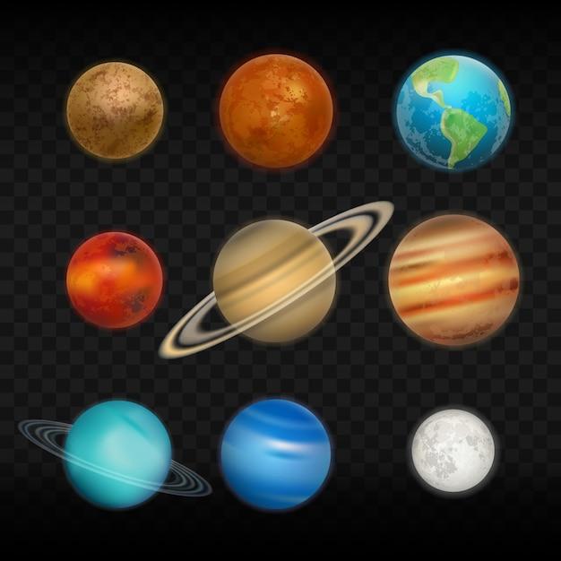 Conjunto realista do sistema solar Vetor Premium