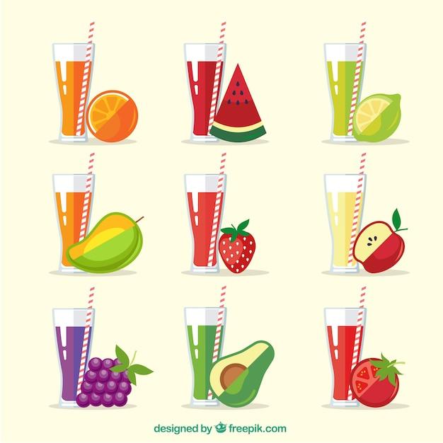 Conjunto, refrescante, fruta, sucos Vetor grátis