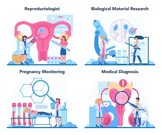 Conjunto reprodutologista e saúde reprodutiva. Vetor Premium