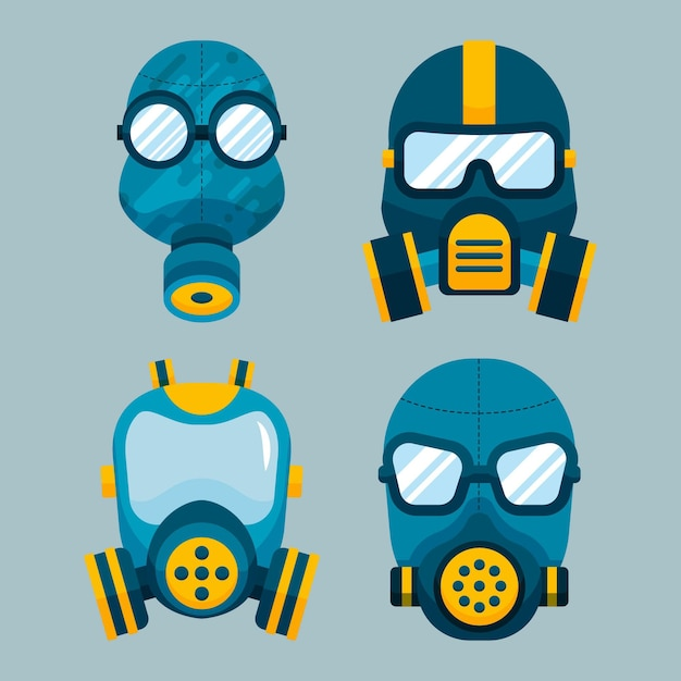 Conjunto respiratório de máscara de gás Vetor Premium