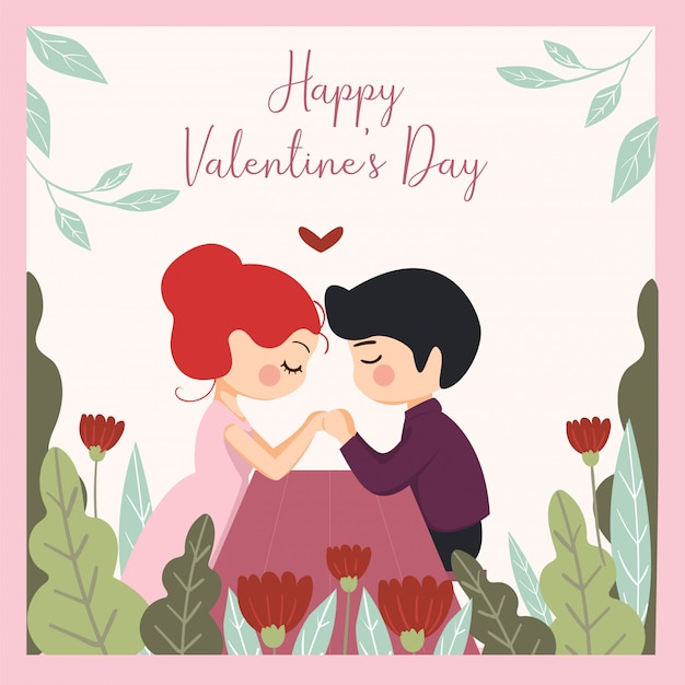 Conjunto romântico de ilustrações bonitinha. história de amor, relacionamento. para o dia dos namorados Vetor Premium