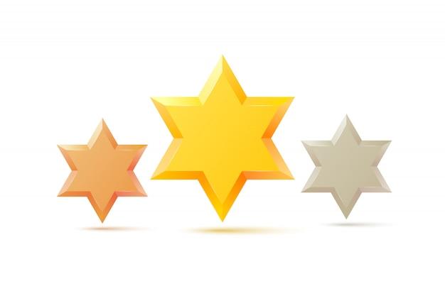 Conjunto. símbolo de estrela de davi de israel. cultura religiosa judaica. isolado Vetor Premium