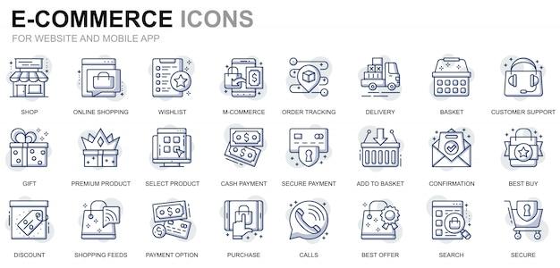 Conjunto simples de comércio eletrônico e ícones de linha de compras para o site e aplicativos móveis Vetor Premium
