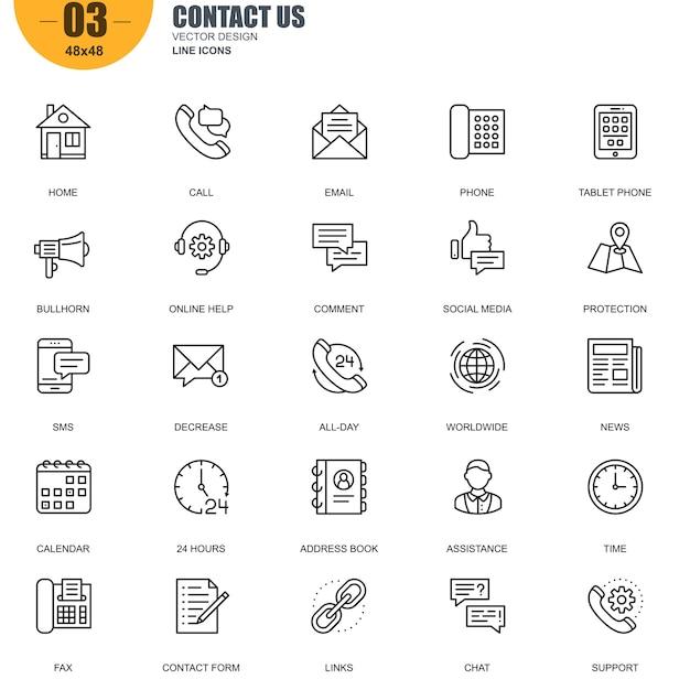 Conjunto simples de contato nos relacionados vector linha ícones Vetor Premium