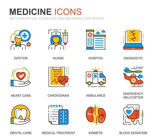 Conjunto simples de cuidados de saúde e medicina linha ícones para site Vetor Premium