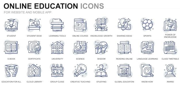 Conjunto simples de educação e ícones de linha de conhecimento para o site e aplicativos móveis Vetor Premium