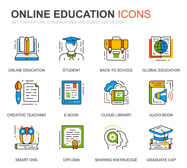 Conjunto simples de educação e ícones de linha de conhecimento para o site Vetor Premium