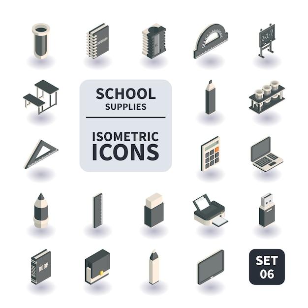 Conjunto simples de escola e material de escritório ícones. Vetor Premium