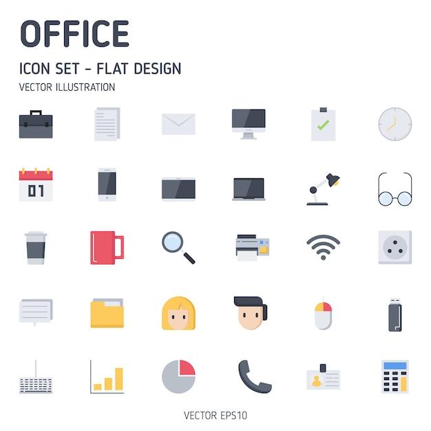Conjunto simples de escritório relacionados com ícones de estilo simples Vetor Premium