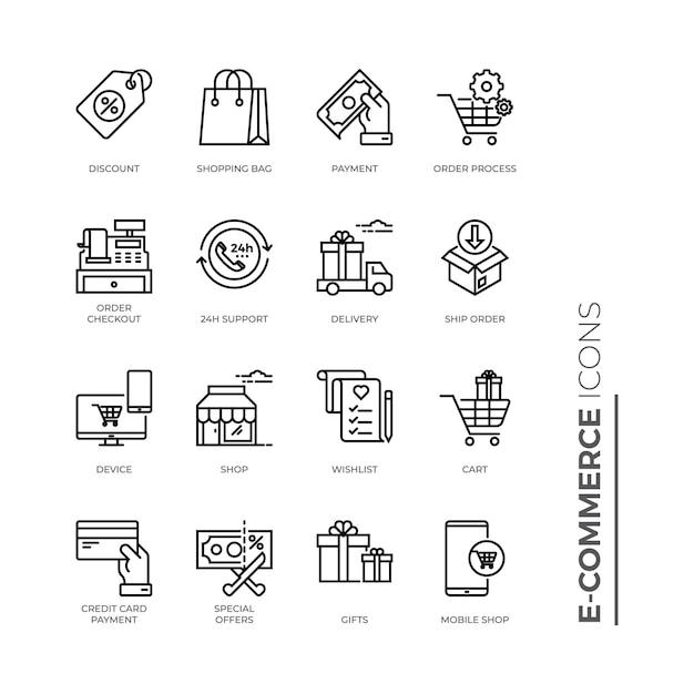 Conjunto simples de ícone de comércio eletrônico, ícones de linha relacionada de vetor Vetor Premium