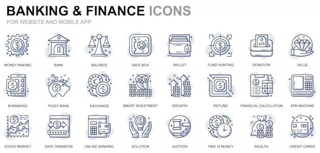 Conjunto simples de ícones bancários e financeiros de linha para o site e aplicativos móveis Vetor Premium