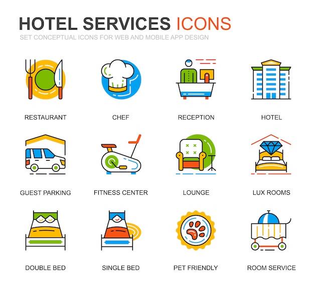 Conjunto simples de ícones de linha de serviço de hotel para o site Vetor Premium